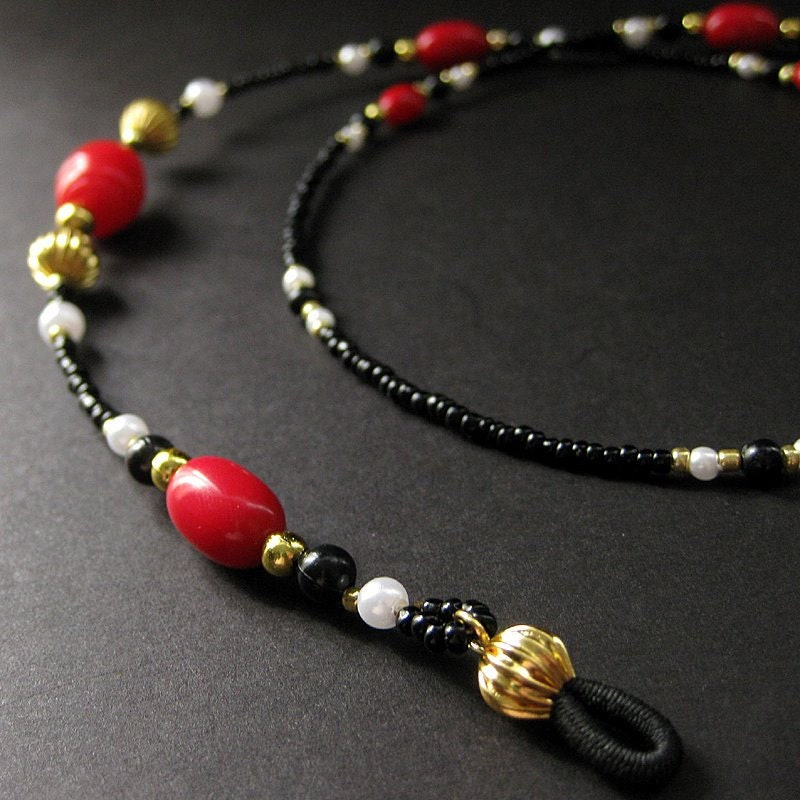 Red Eyeglass Chain Beaded with Black, White Pearls and Gold