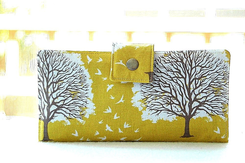 Handmade wallet in yellow with trees - happykathy