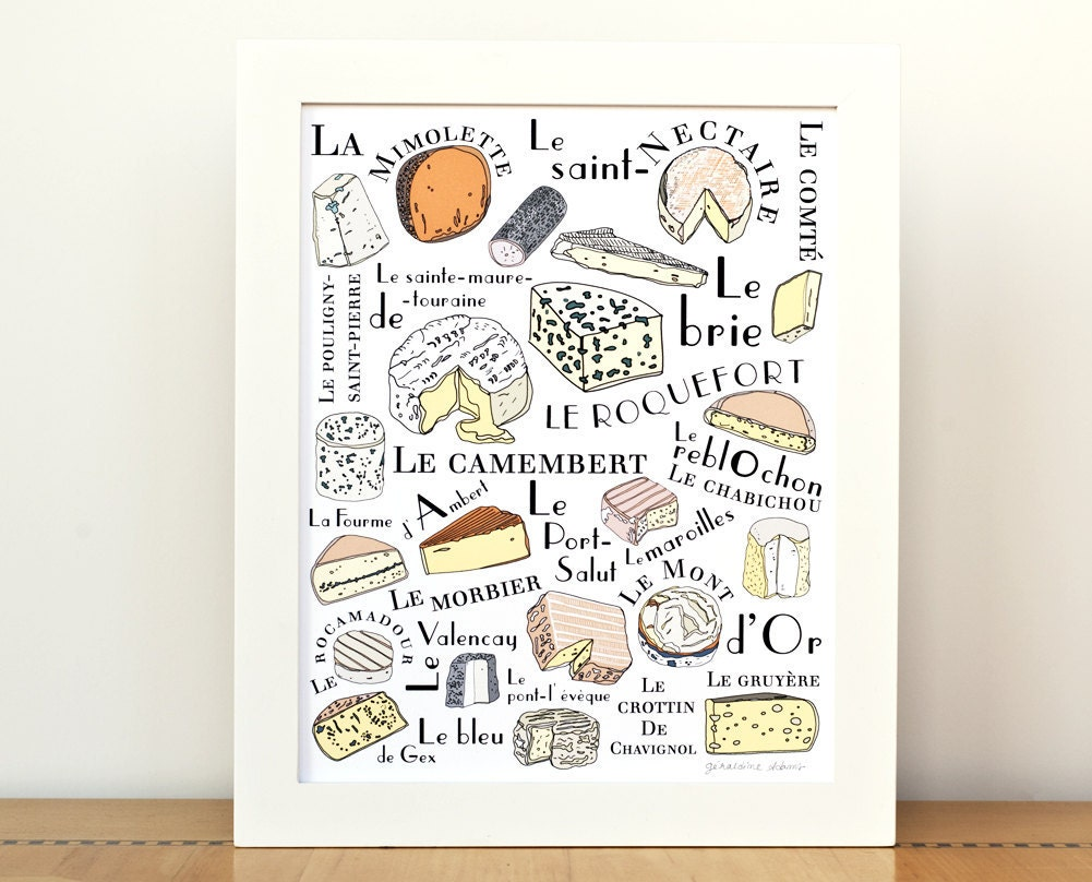 Kitchen art french cheeses home decor art print by for Best home decor on etsy