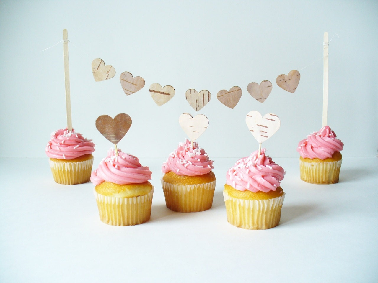 Rustic Cupcake Topper Hearts - Birch Bark,  Rustic, Woodland, Country Wedding, Birthday, Party,  Decoration ,Set of 50 Cupcake Toppers