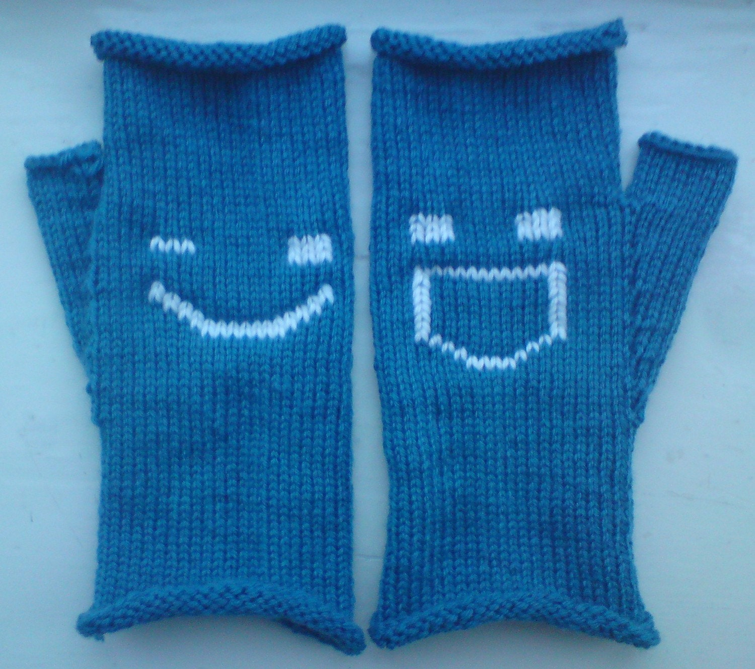 Blue Fingerless Gloves with Winking and Grinning Emoticons
