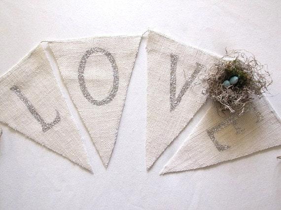 LOVE...Glittered Burlap Pennant Banner