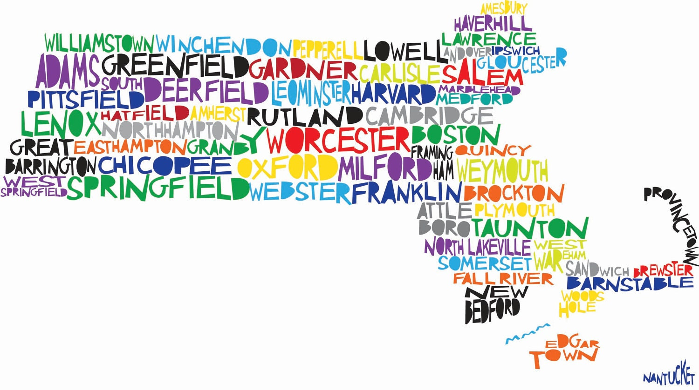 Typographic Boston And Massachusetts Bostonography - Map of ma towns