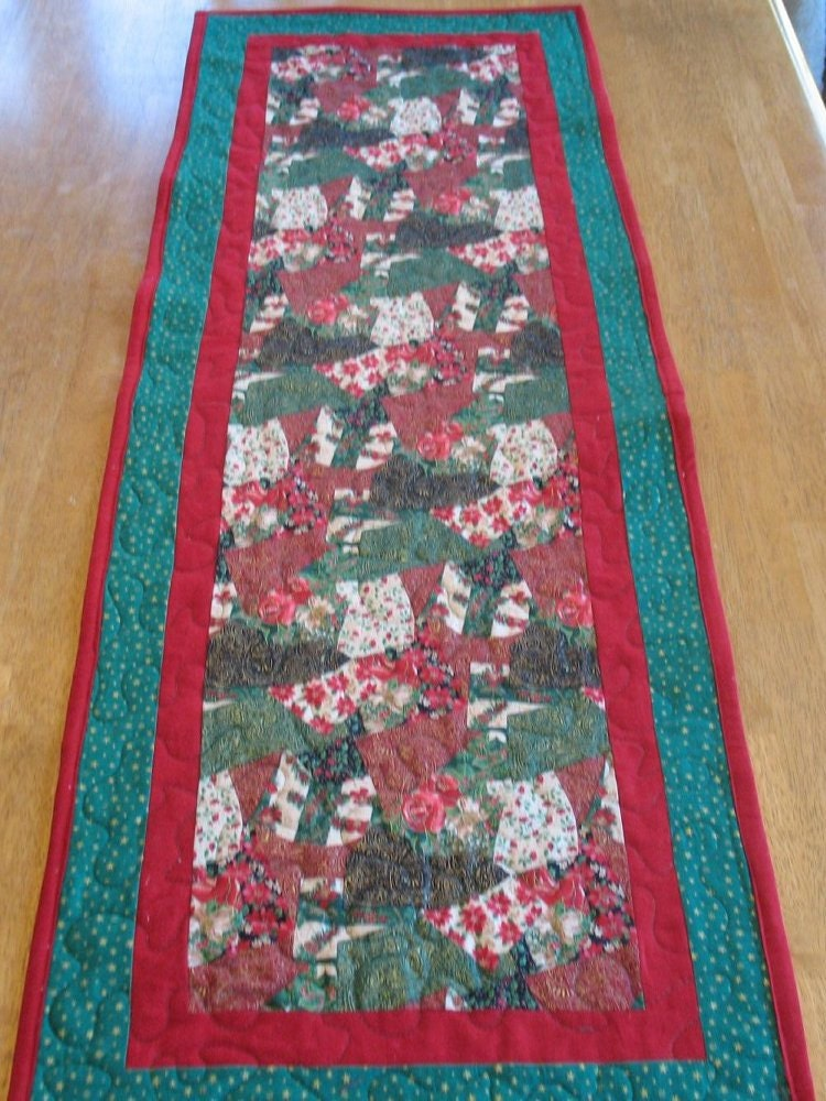 Items similar to quilted christmas patchwork table runner for 120 table runner christmas