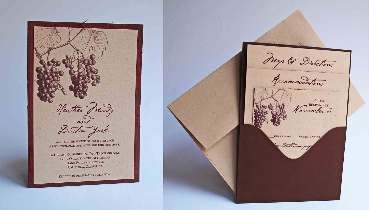 Custom Fall Grape/Vineyard Themed Single Pocket Wedding Invitation