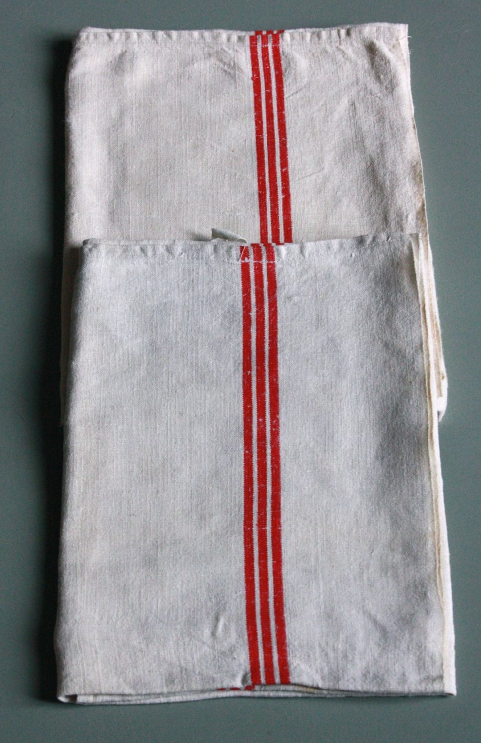 pair of french red striped towel , country kitchen. - wondersfromnormandy