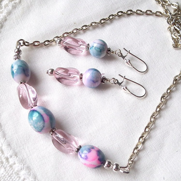 Necklace Earrings Set Pink and Blue Repurposed Beads