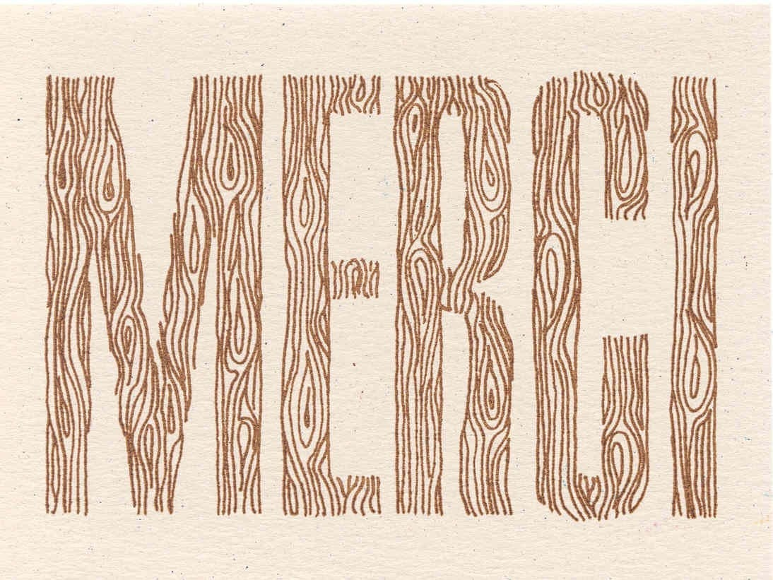 Woodgrain Merci Card