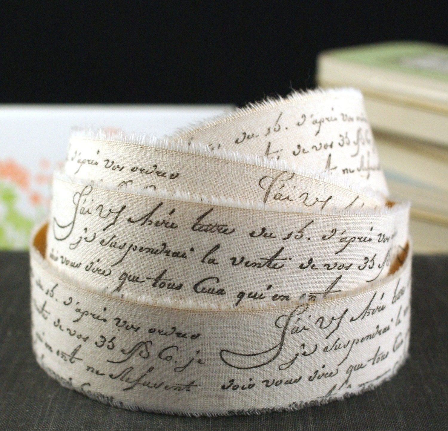 PEEL & STICK - 2 YARDS Hand Stamped French Script Words Muslin Fabric Adhesive Ribbon-for Weddings, Crafting, Scrapbooking, Gift Wrapping, Decorating, Party Favor