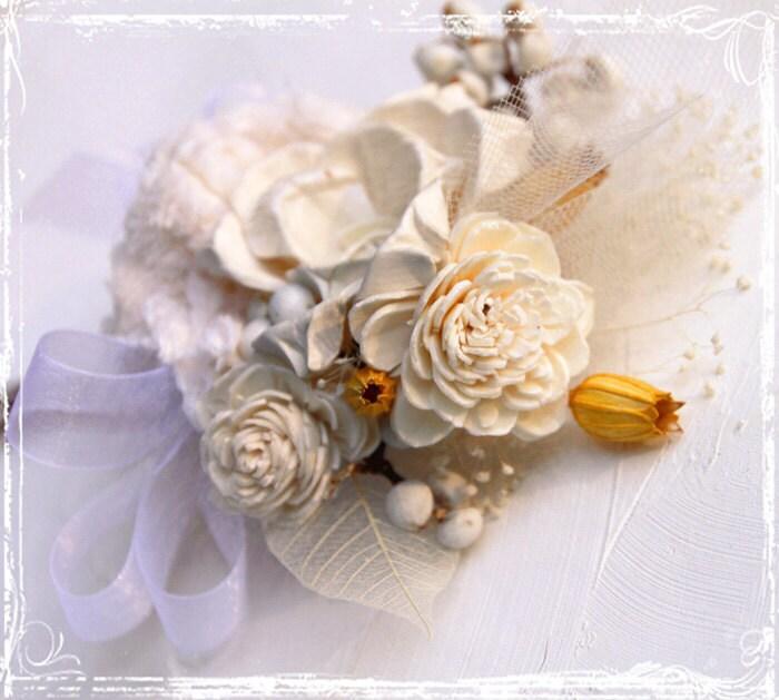 Хлопок Страна Corsage - Сельский Elegance - крем мед Белый Pin Свадебный On - мама невесты - мать жениха