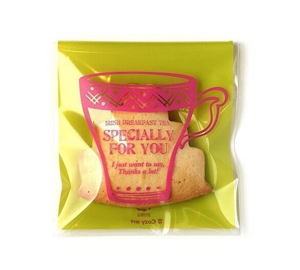 20 Tea Cup Printing Cello Poly Bag Envelope - irish breakfast tea (100 x 110mm)