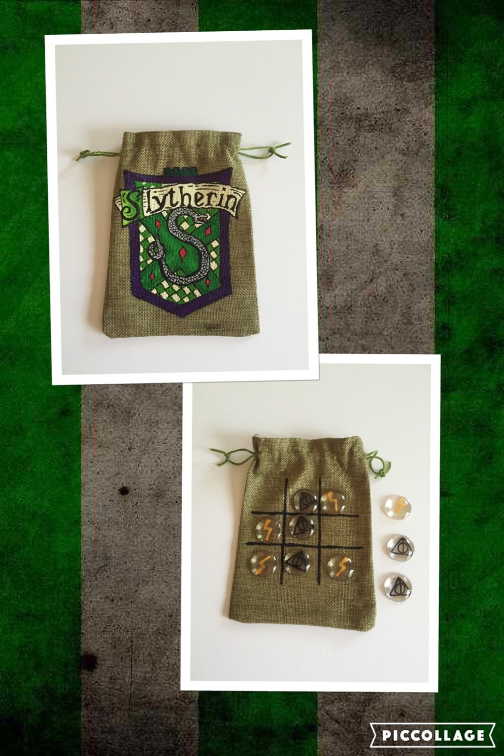 Harry Potter game inspired large tic tac toe naughts and crosses pouch house themed