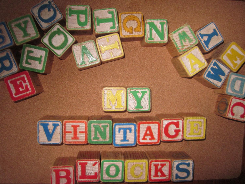 Vintage 1950s Alphabet Blocks Wooden Blocks By