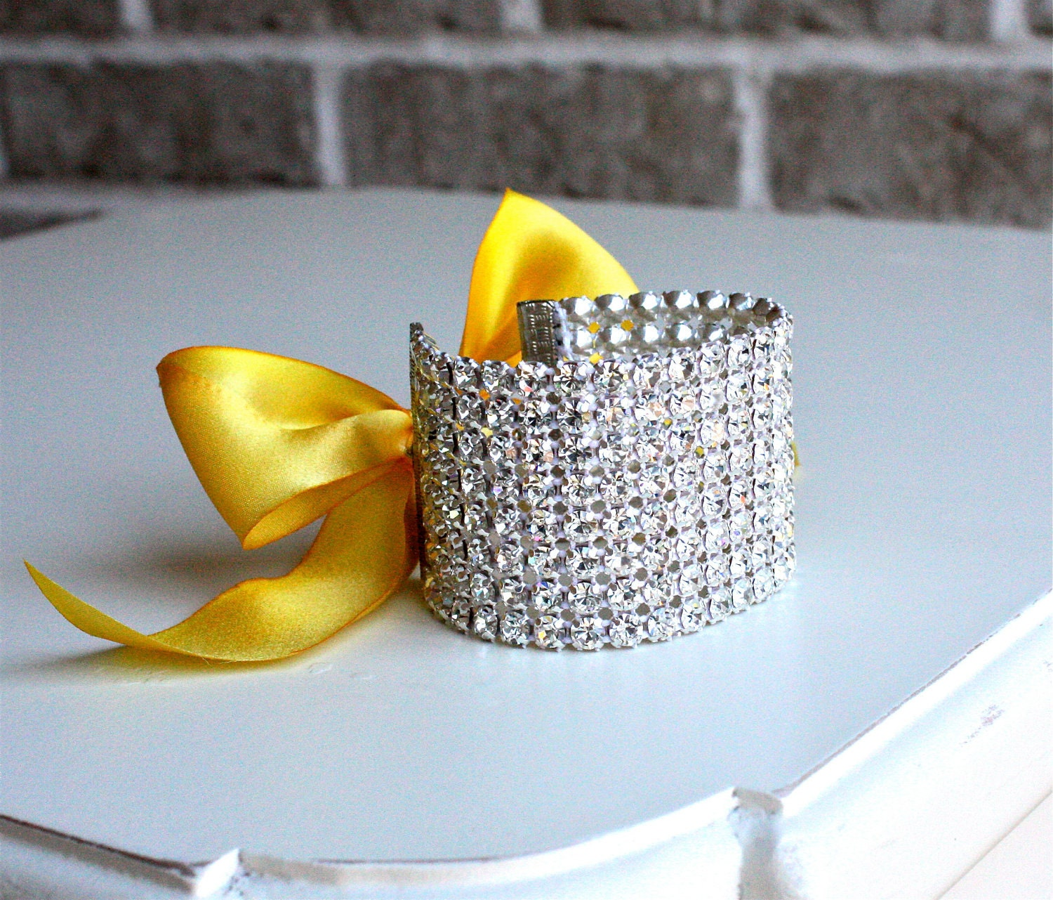"Rhinestone Cuff Bracelets with Yellow Marigold Silk Ribbon Tie ( 1 1/2"" WIDE / Ribbon color customizable)"