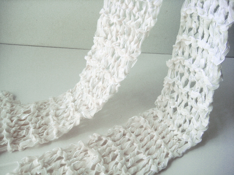 hand knit creamy white scarf