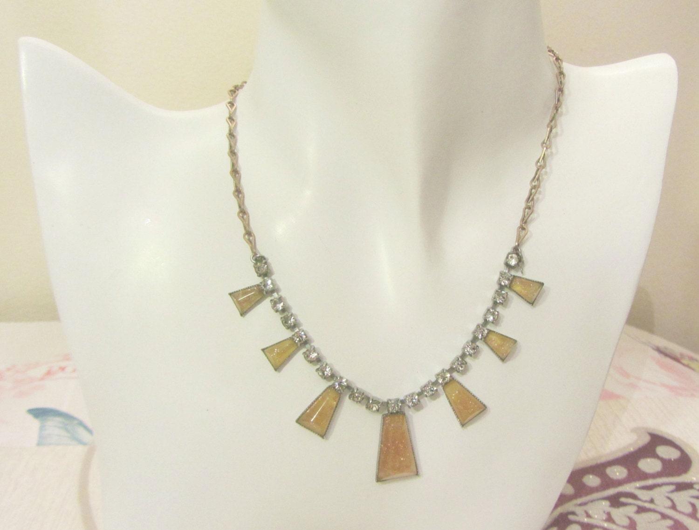 Art deco amber geometric choker glittered amber necklace  Art deco honey rhinestone necklace geometric amber glitter choker 1930 jewelry