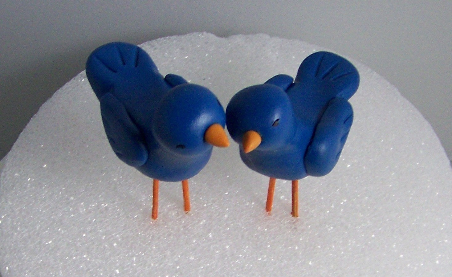 Color of Choice Hand Sculpted Nuzzling Love Birds Standing Cake Topper