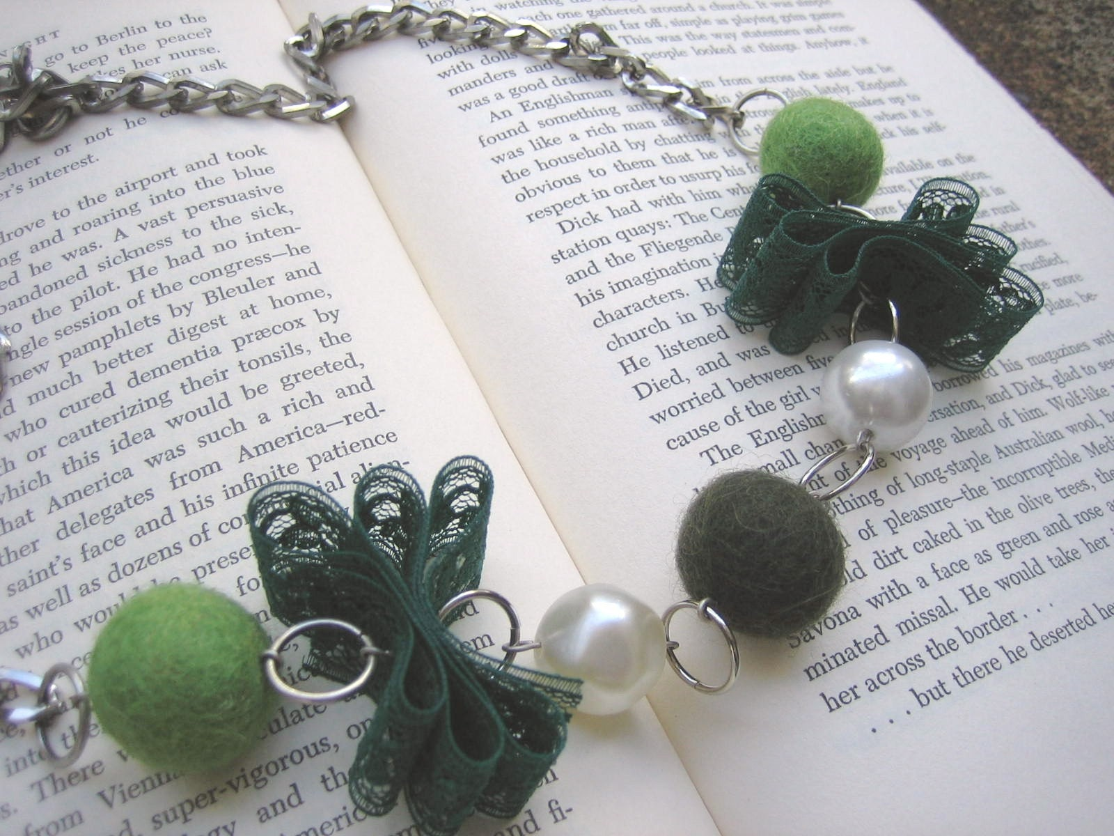 Unique Bead and Lace Necklace (Moss Green) - Recycled Vintage Chain, Beads and Lace, Handmade Felted Wool Beads in Shades of Green