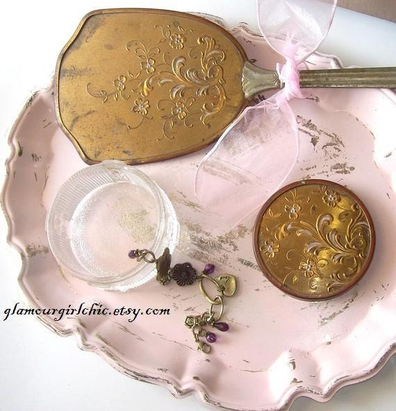 Antique Art Deco VAnity Mirror Glass Trinket jar Gold embellishment  Shabby Chic Style Mothers DAY