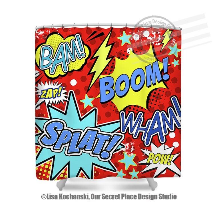 Super hero shower curtain