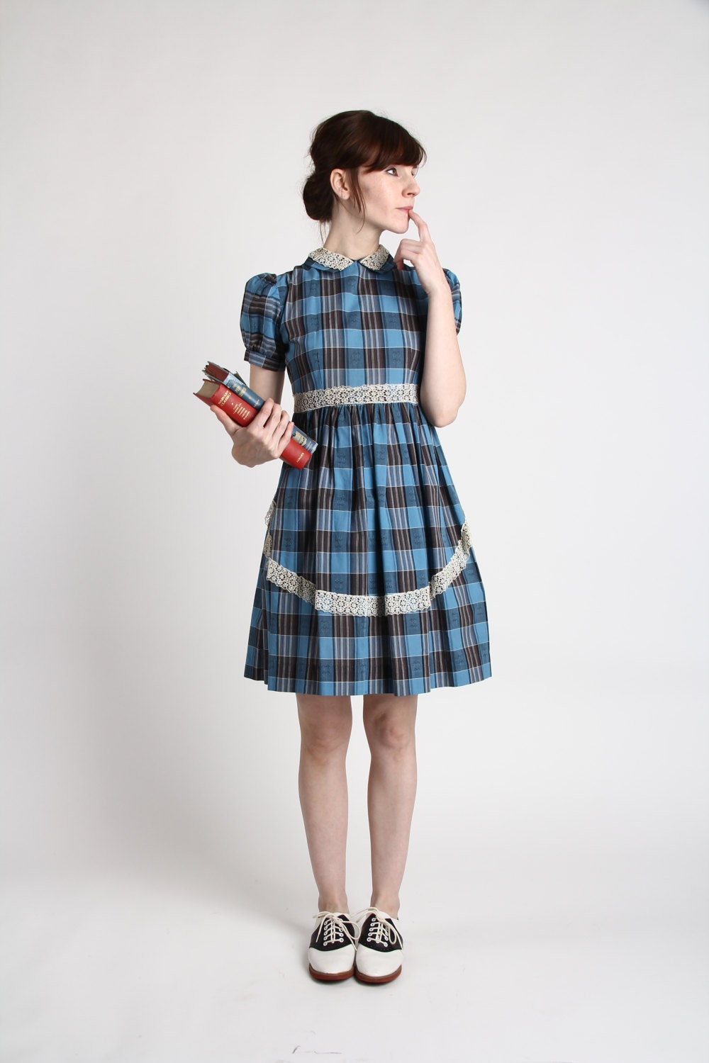 1950s Plaid Dress . Blue Baby Doll Frock with Lace - VeraVague