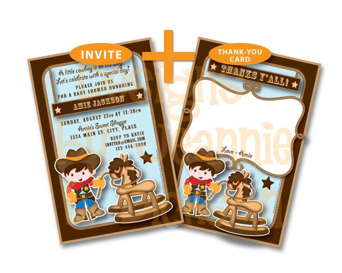 Personalized Invite and Thank Y'all Combo - Little Cowboy Baby Shower, Birthday DIY uPrintable Set