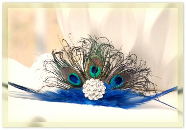 Peacock Fan Fascinator Hair Comb or Pin Statement Couture Bride Bridal