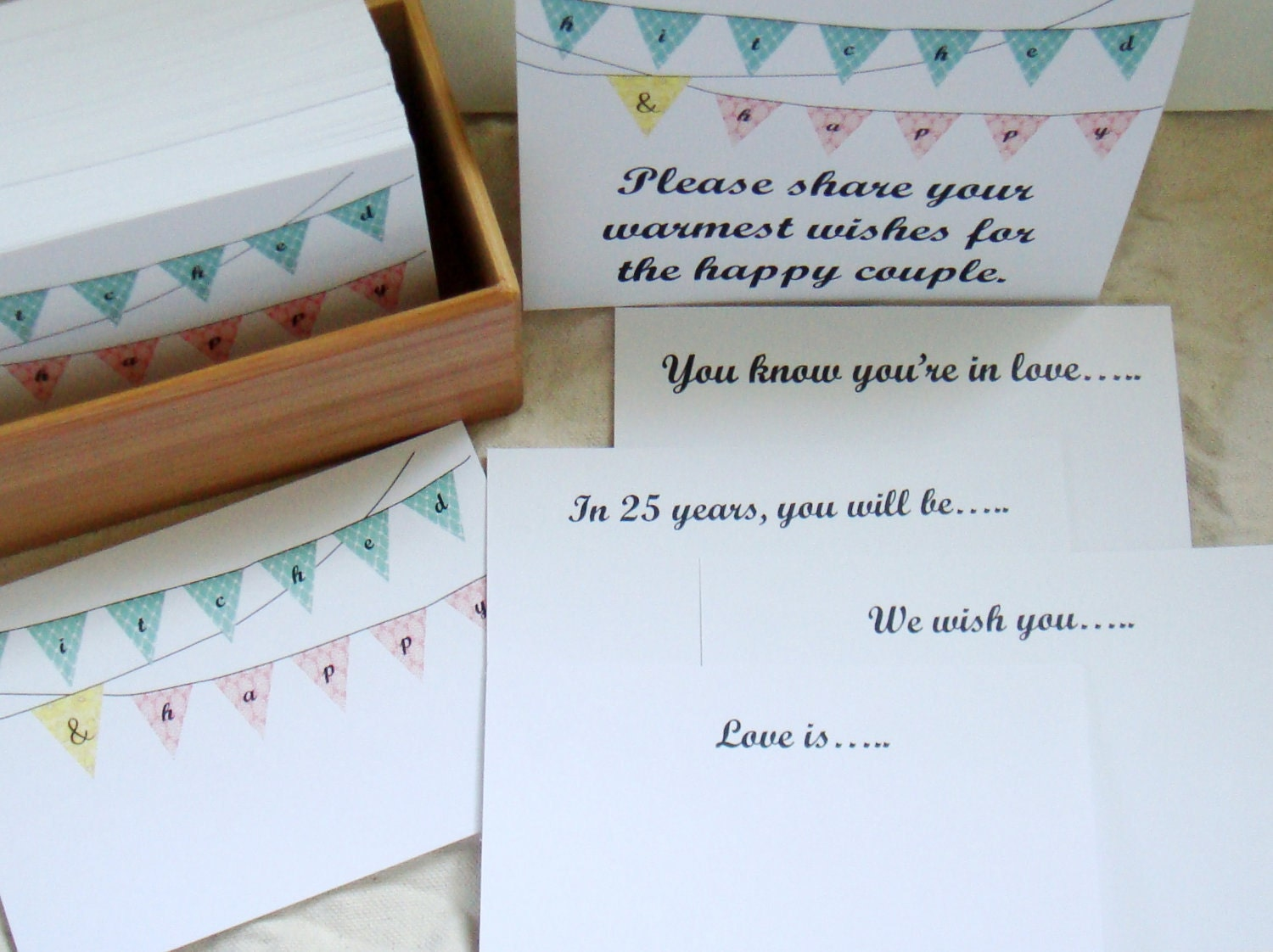 Prompted Message Guest Book - Hitched & Happy - Set of 200