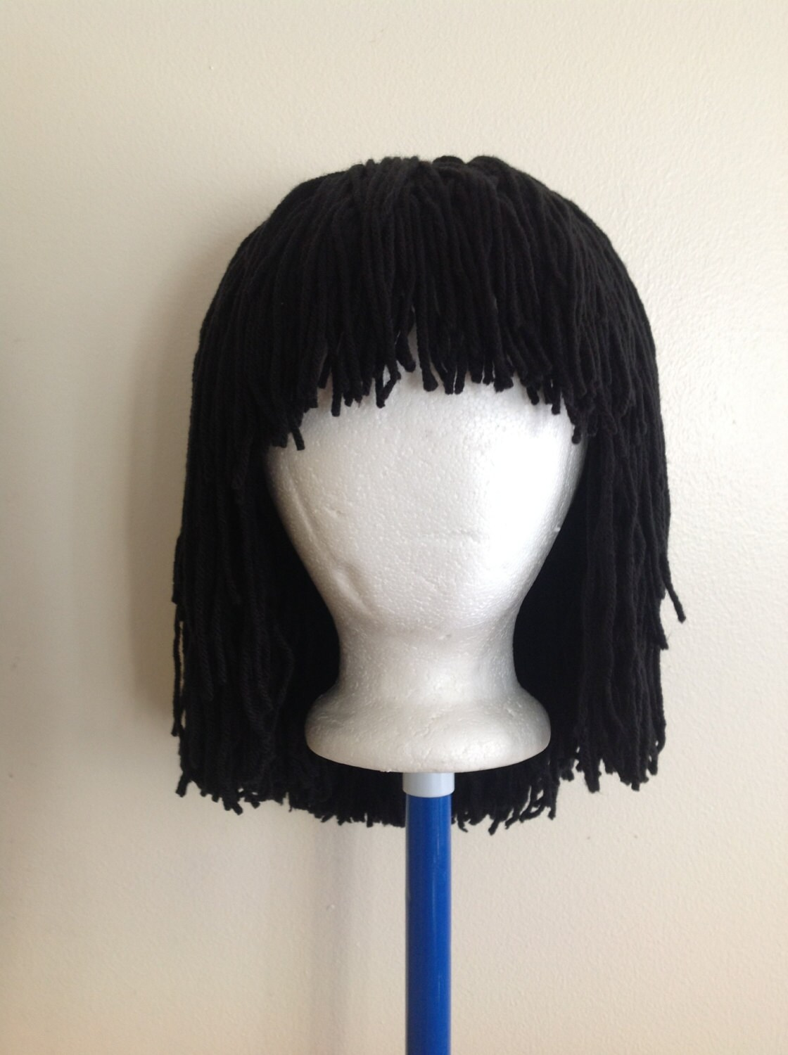 Crochet Hair Wig : Crochet yarn Hair wig, women, baby, kids, Black hair, yarn wig ...