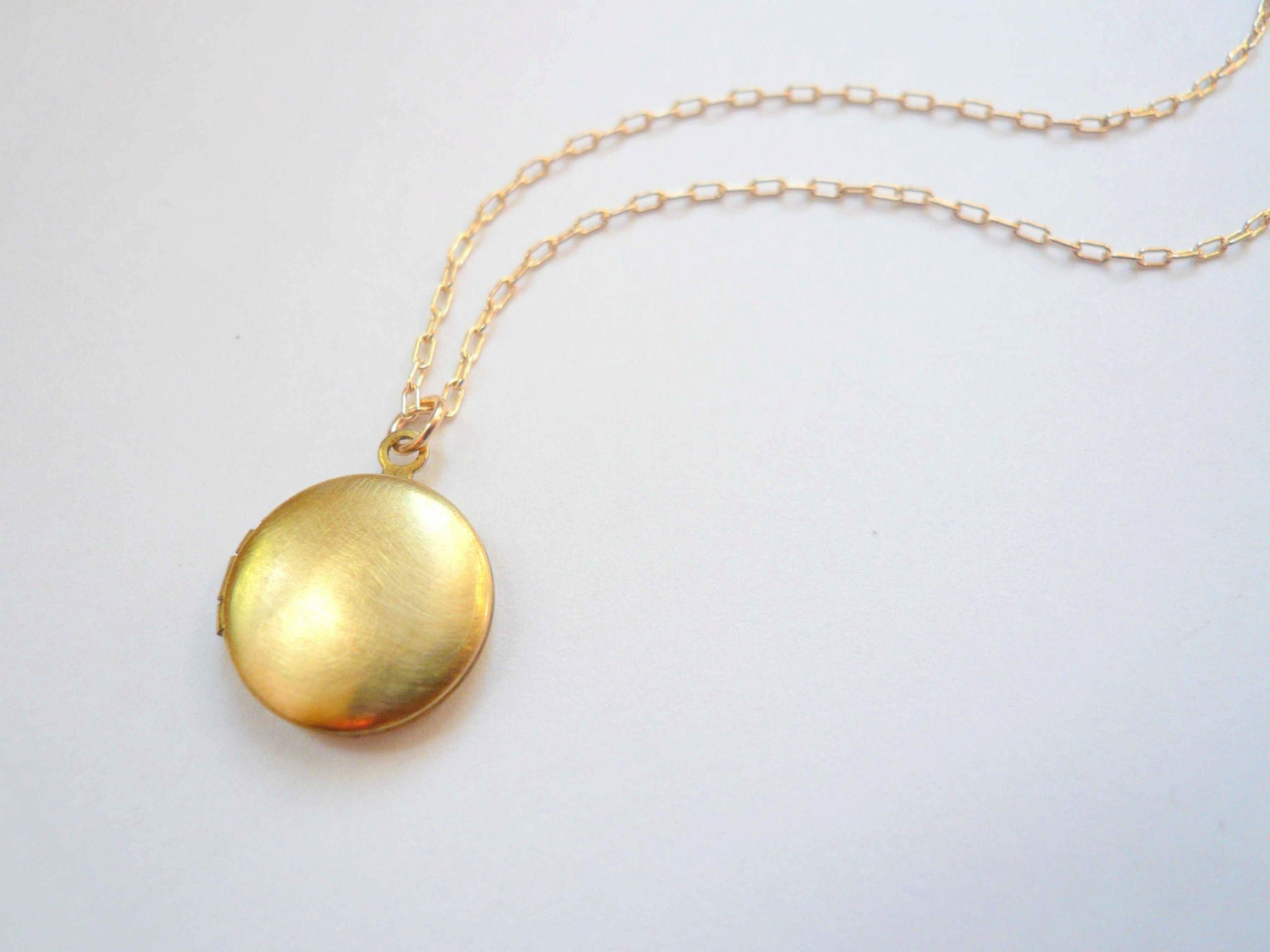 Small gold locket necklace on 14K gold fill GF chain. by minusOne