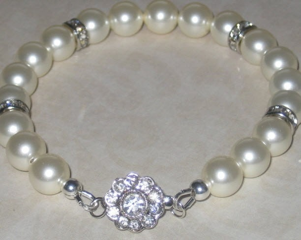 Swarovski cream pearls, silver and crystal rondelles and flower clasp - free shipping