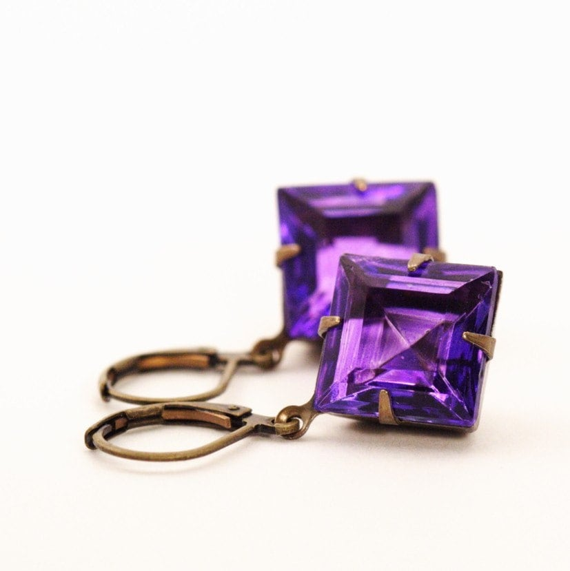 Vintage Glass Jewel Earrings - Purple Diamonds