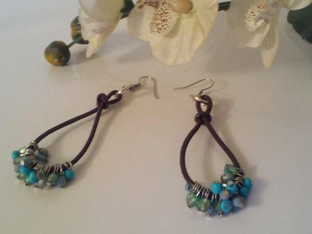 genuine leather cord and bead dangle hoop earrings by