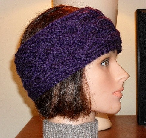 Head Warmer Knitting Pattern : Djfleesh Hand Knit Head Warmer/Head Band Deep Purple by djfleesh