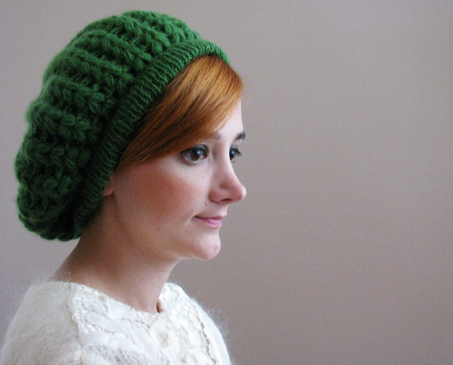 Hot Green Leaf Beret - KokoshKnitting