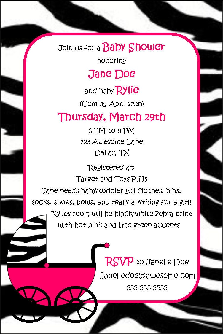 Pink Zebra Baby Invitations