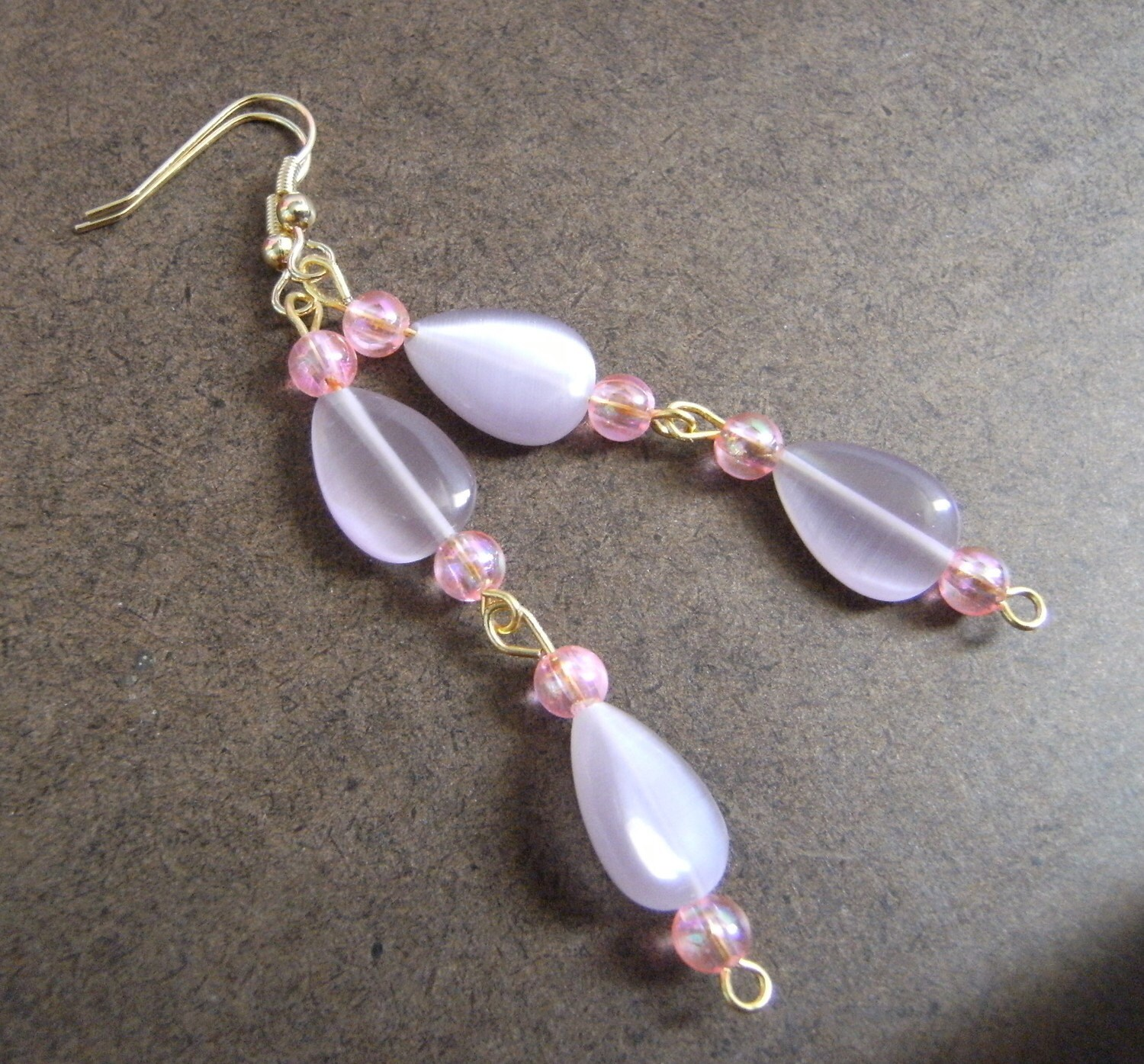 Creme de Violet Beaded Dangle earrings by SatinDollCo on Etsy from etsy.com