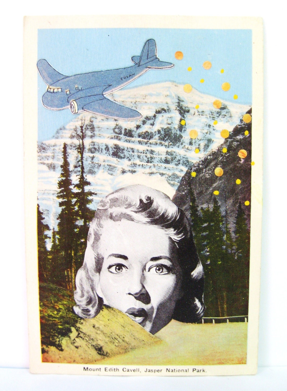 Mount Edith. Altered postcard collage - catwalk