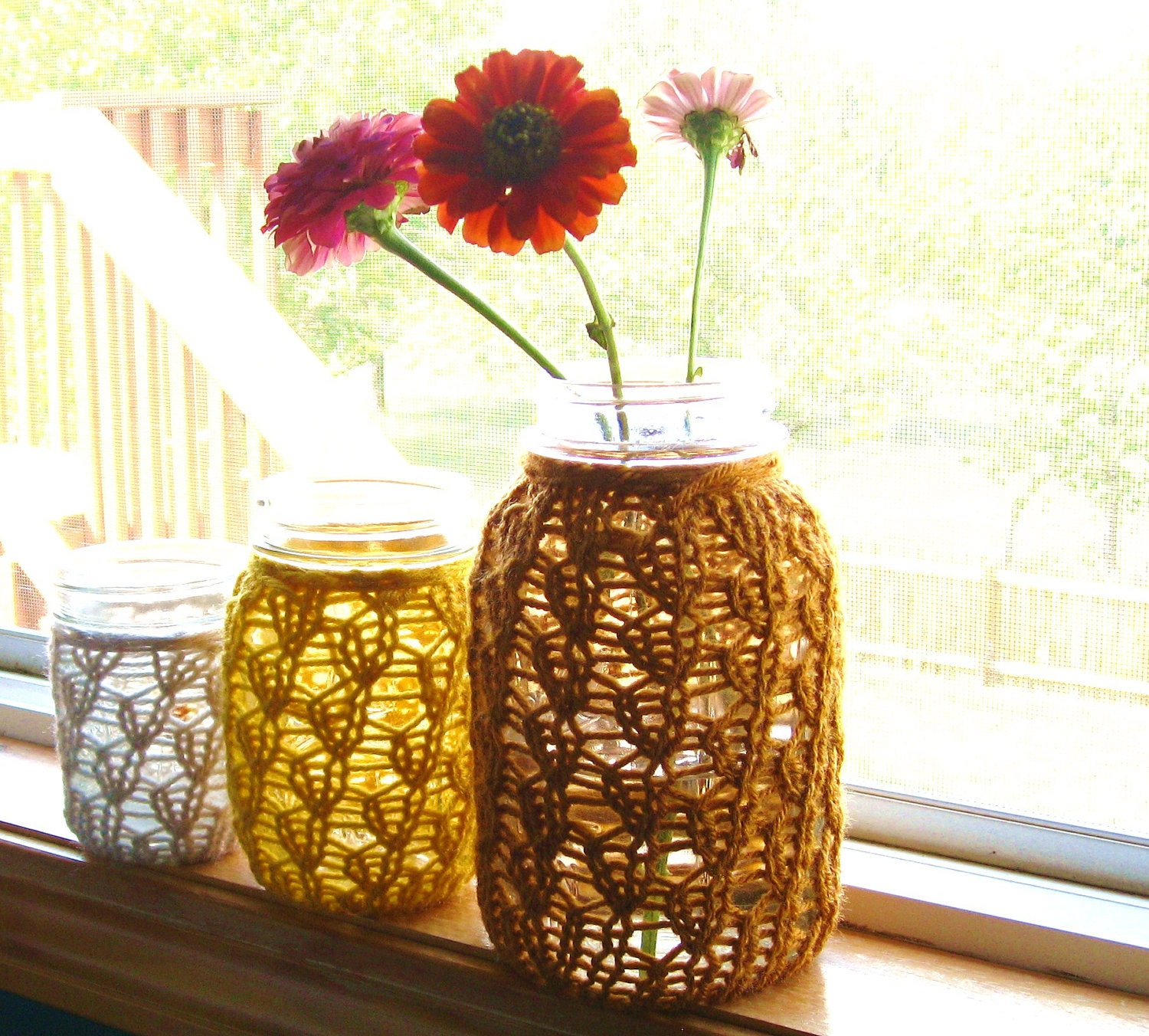 Mason Jar Wedding Centerpieces - Lace Knit - Set of 3