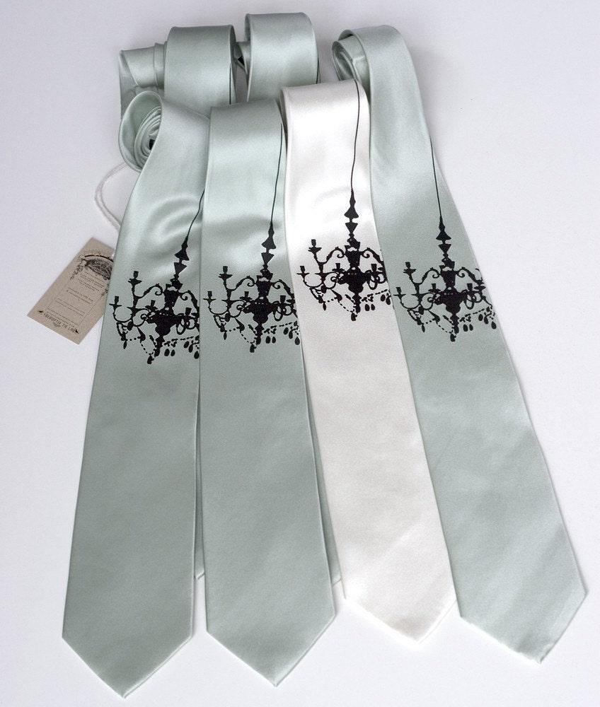 3 silk groomsmen neckties, matching design - wedding multiple discount
