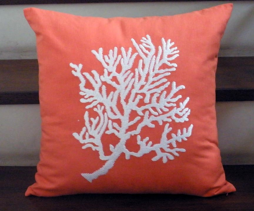 White Coral on Orange Coral Linen - Embroidery Pillow Cover