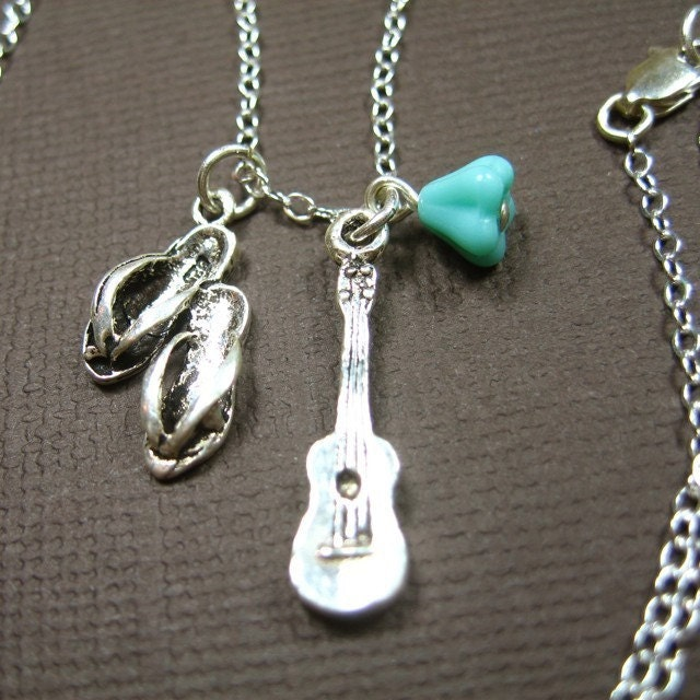 Day at the beach necklace - sterling silver flip flop sandals, guitar or ukulele, and aqua glass flower bead on a sterling chain