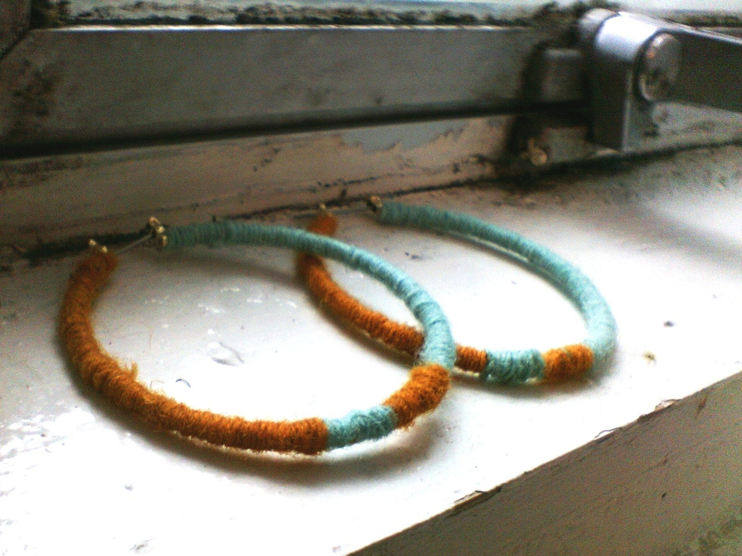 Mustard and Aqua Mix Hoop Yarn Winded Earrings