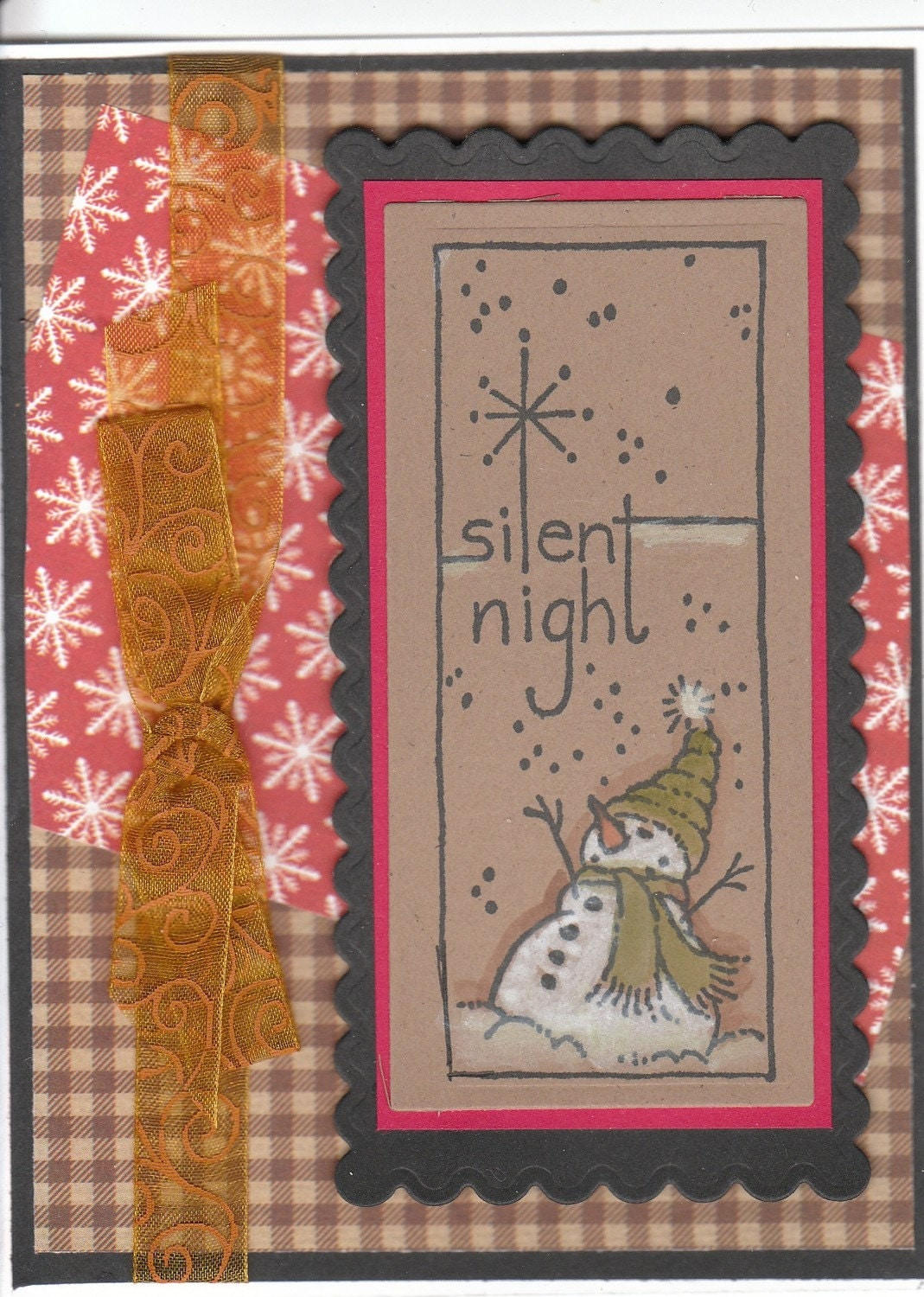 SILENT NIGHT WATERCOLOR SNOWMAN HANDMADE KRAFT CHRISTMAS CARD