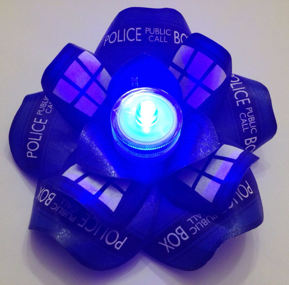 TARDIS Doctor Who Blue LED Glow Lights Hair Flower Rose Fascinator - LittleAsianSweatshop