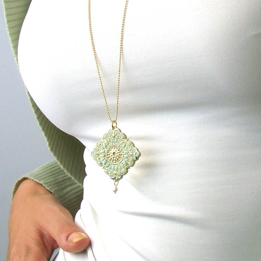 Gold and Turquoise Filigree Necklace