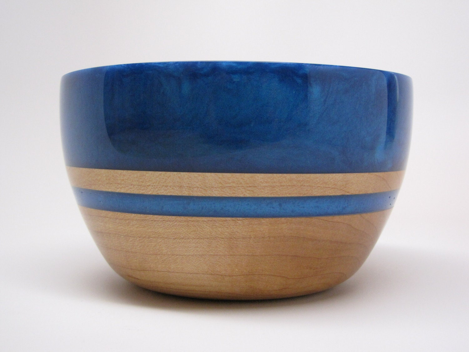 Hard Wood Maple Bowl with a Blue Pearl Top & Blue Inlay