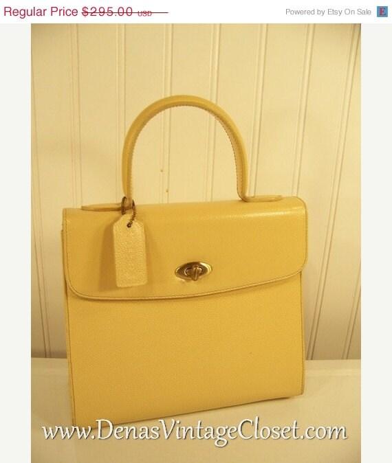ON SALE RARE Vintage Coach Purse Italy Butter Cream Pebble Leather 4417 Biltmore Handbag - DenasVintageCloset