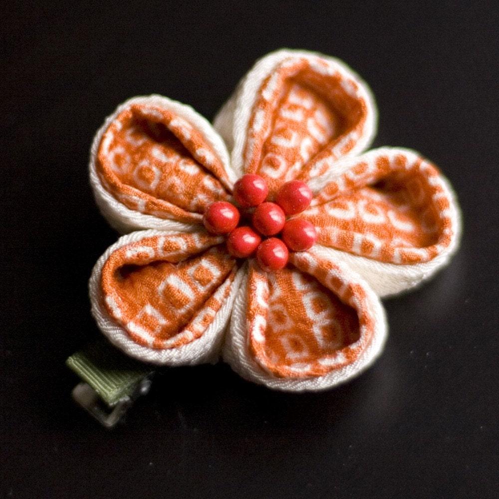 Orange Creamsicle Fabric Flower Kanzashi