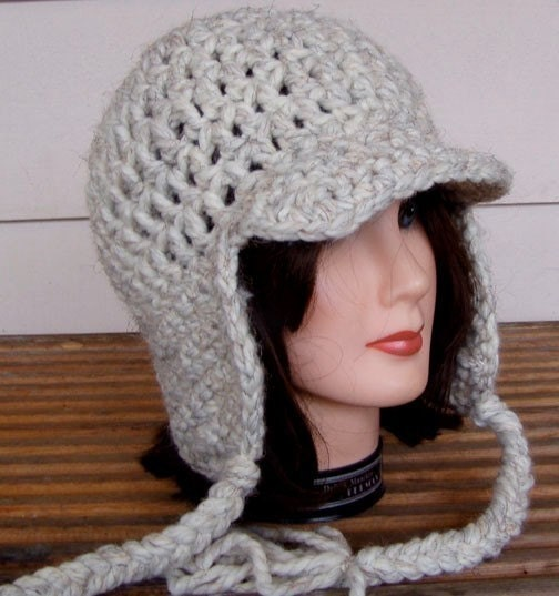 Crochet Hat Patterns Ear Flaps : 2 Crochet Patterns for Hat With Ear Flaps and Ties by ...
